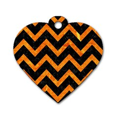 Chevron9 Black Marble & Orange Marble Dog Tag Heart (one Side)