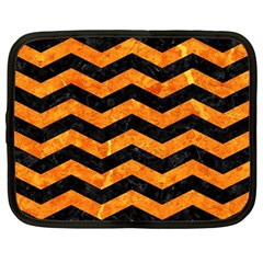 Chevron3 Black Marble & Orange Marble Netbook Case (large)