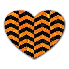 Chevron2 Black Marble & Orange Marble Heart Mousepad