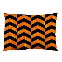 Chevron2 Black Marble & Orange Marble Pillow Case