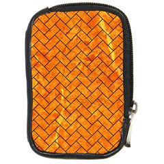 Brick2 Black Marble & Orange Marble (r) Compact Camera Leather Case