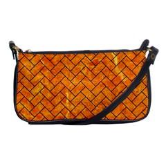 Brick2 Black Marble & Orange Marble (r) Shoulder Clutch Bag
