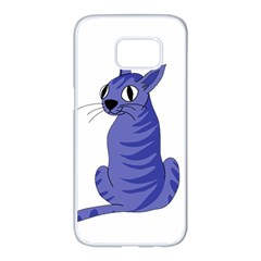 Blue cat Samsung Galaxy S7 edge White Seamless Case