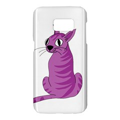 Purple cat Samsung Galaxy S7 Hardshell Case