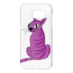 Purple Cat Samsung Galaxy S7 Edge Hardshell Case