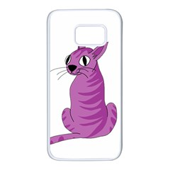 Purple Cat Samsung Galaxy S7 White Seamless Case