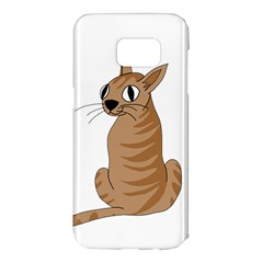Brown cat Samsung Galaxy S7 Edge Hardshell Case