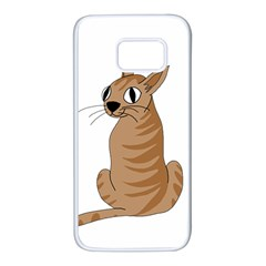 Brown cat Samsung Galaxy S7 White Seamless Case