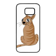 Brown cat Samsung Galaxy S7 edge Black Seamless Case