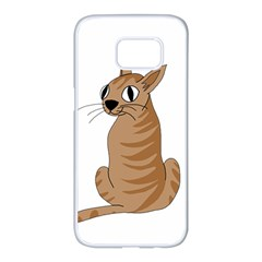 Brown cat Samsung Galaxy S7 edge White Seamless Case