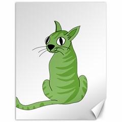 Green Cat Canvas 12  X 16