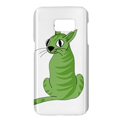 Green cat Samsung Galaxy S7 Hardshell Case