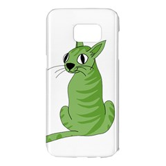 Green Cat Samsung Galaxy S7 Edge Hardshell Case