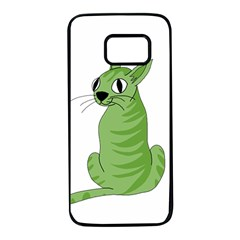 Green cat Samsung Galaxy S7 Black Seamless Case
