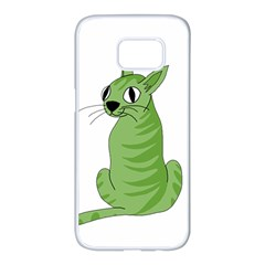 Green cat Samsung Galaxy S7 edge White Seamless Case