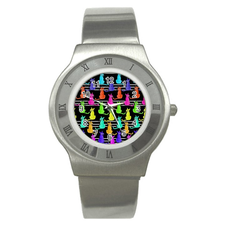 Colorful cats pattern Stainless Steel Watch