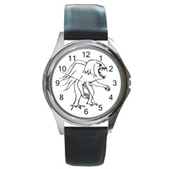 Monster Bird Drawing Round Metal Watch