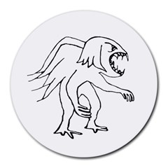 Monster Bird Drawing Round Mousepads