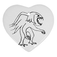 Monster Bird Drawing Ornament (Heart)