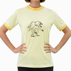 Monster Bird Drawing Women s Fitted Ringer T-Shirts