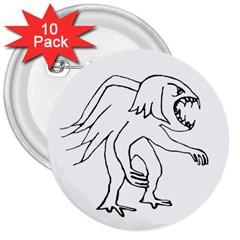 Monster Bird Drawing 3  Buttons (10 pack)