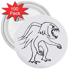 Monster Bird Drawing 3  Buttons (100 pack)