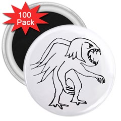 Monster Bird Drawing 3  Magnets (100 pack)