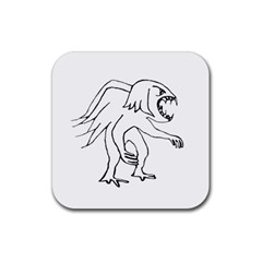 Monster Bird Drawing Rubber Square Coaster (4 pack)