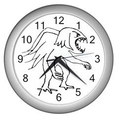 Monster Bird Drawing Wall Clocks (Silver)
