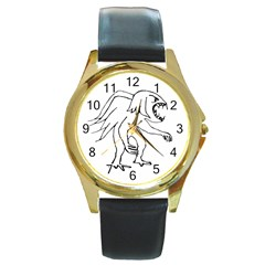 Monster Bird Drawing Round Gold Metal Watch