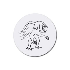 Monster Bird Drawing Rubber Round Coaster (4 pack)