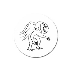 Monster Bird Drawing Magnet 3  (Round)