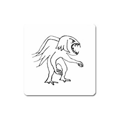 Monster Bird Drawing Square Magnet