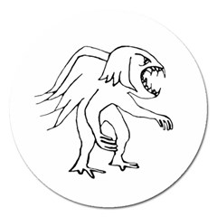 Monster Bird Drawing Magnet 5  (Round)