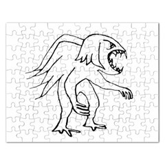Monster Bird Drawing Rectangular Jigsaw Puzzl