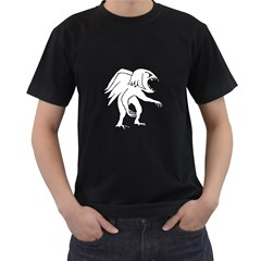 Monster Bird Drawing Men s T-Shirt (Black) (Two Sided)