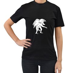 Monster Bird Drawing Women s T-Shirt (Black) (Two Sided)