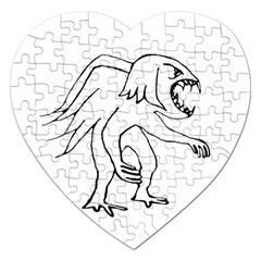 Monster Bird Drawing Jigsaw Puzzle (Heart)