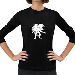 Monster Bird Drawing Women s Long Sleeve Dark T-Shirts