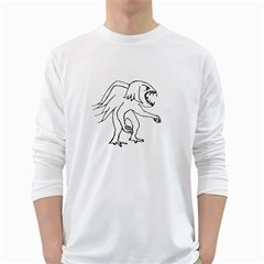 Monster Bird Drawing White Long Sleeve T-Shirts