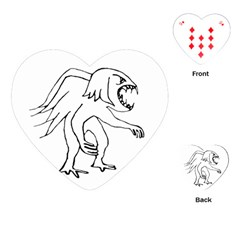 Monster Bird Drawing Playing Cards (Heart)