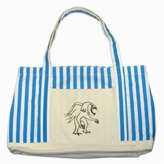 Monster Bird Drawing Striped Blue Tote Bag