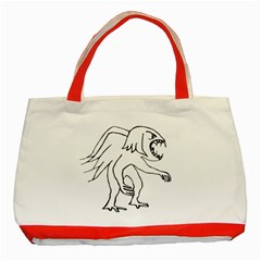 Monster Bird Drawing Classic Tote Bag (Red)