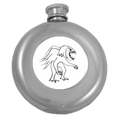 Monster Bird Drawing Round Hip Flask (5 oz)