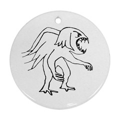 Monster Bird Drawing Round Ornament (Two Sides)