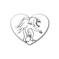 Monster Bird Drawing Rubber Coaster (Heart)