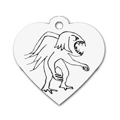 Monster Bird Drawing Dog Tag Heart (Two Sides)