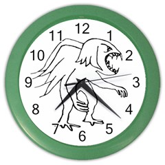 Monster Bird Drawing Color Wall Clocks