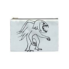 Monster Bird Drawing Cosmetic Bag (Medium)