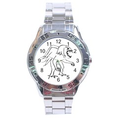 Monster Bird Drawing Stainless Steel Analogue Watch